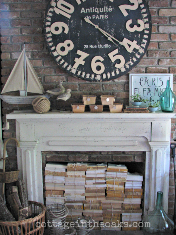 Stacked Books Summer Mantel