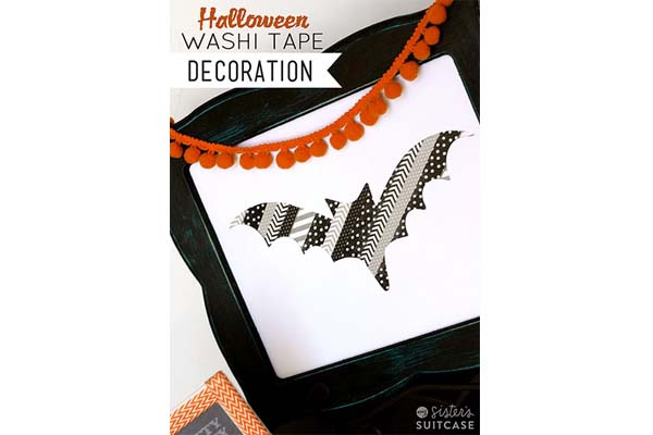 Halloween Washi Tape Silhouette Bat Art