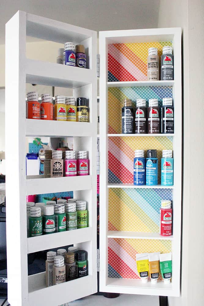 Swing out shelves DIY by Just Measuring Up featured at Songbirdblog