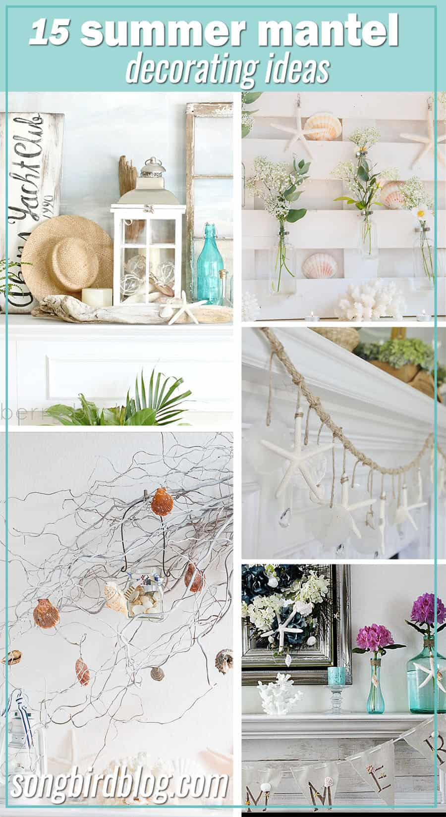 collage summer mantel ideas