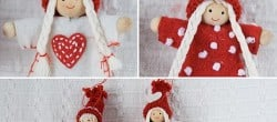 White Red Christmas Puppets Ornaments
