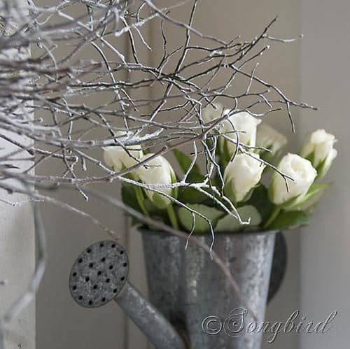 Songbird Winter Mantel Display White Twig Wreath 1