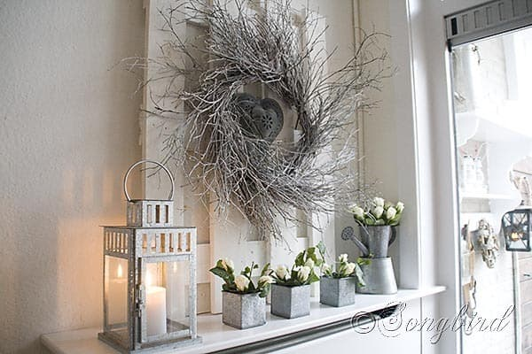 Songbird Winter Mantel Display White Twig Wreath 2