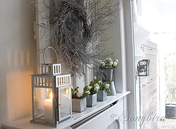 Songbird Winter Mantel Display White Twig Wreath 3
