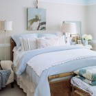 Bleu, brown and white bedroom (from BHG)