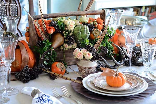 Thanksgiving centerpiece with natural elements in rustic colors