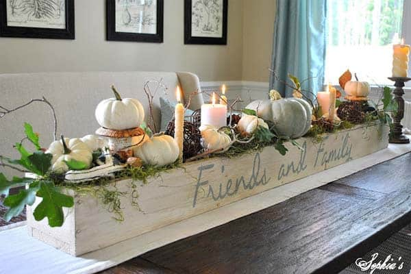 Fall centerpiece in a homemade crate.