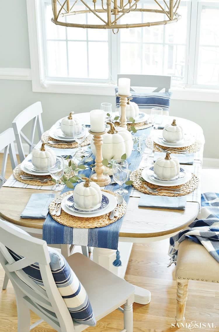 coastal Fall table decor in blue and white