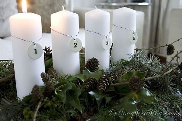 Advent Decoration with handmade enamel tag numbers