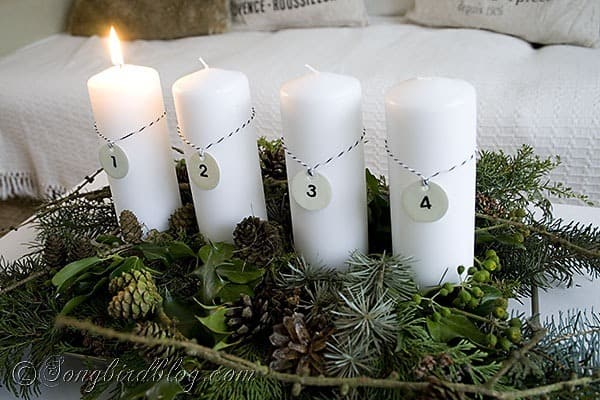 Advent Decoration with natural greens