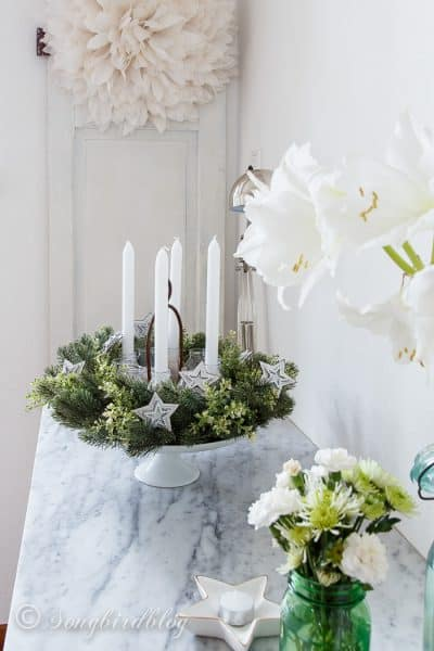evergreen four candles Advent wreath DIY