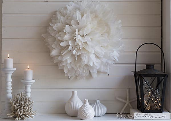 African white feathers juju hat DIY tutorial mantel wall decor songbirdblog