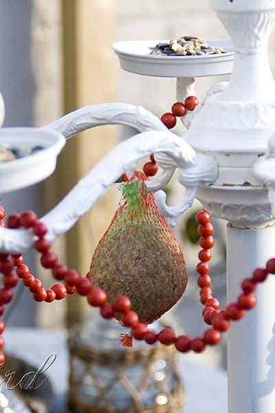 chandelier turned bird feeder