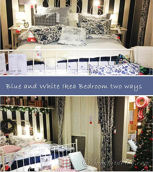 two variations on a blue white bedroom
