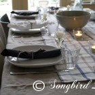 tablescape in white and blue
