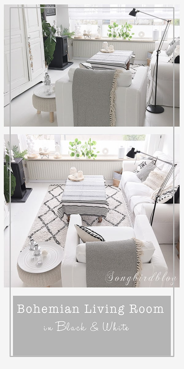Bohemian living room decor in black & white. White living at its best with neutral colors and lots of texture. #boho #bohemian #white #decorating #living room