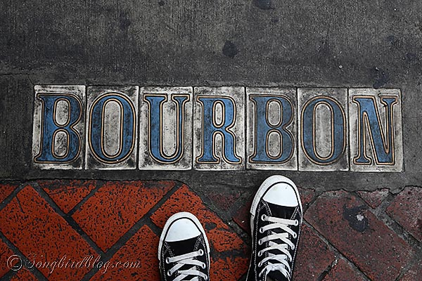 Bourbon street pavement sign New Orleans