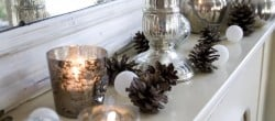 Christmas decoration in silver, white and brown for my mantel