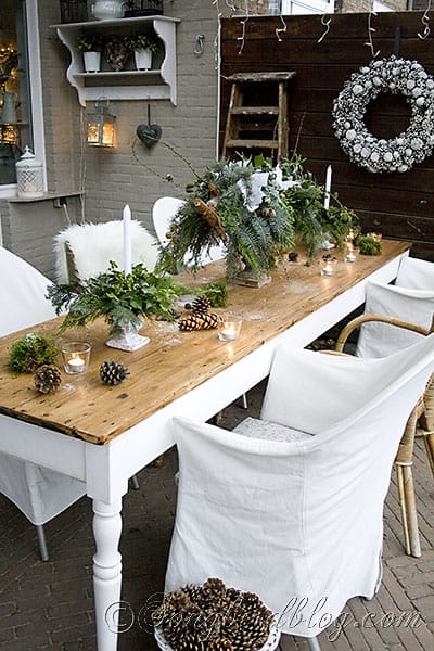 garden table decor Christmas greens, centerpiece, pine cone wreath (7)