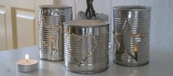 how to turn vegetable tins into lanterns for Christmas