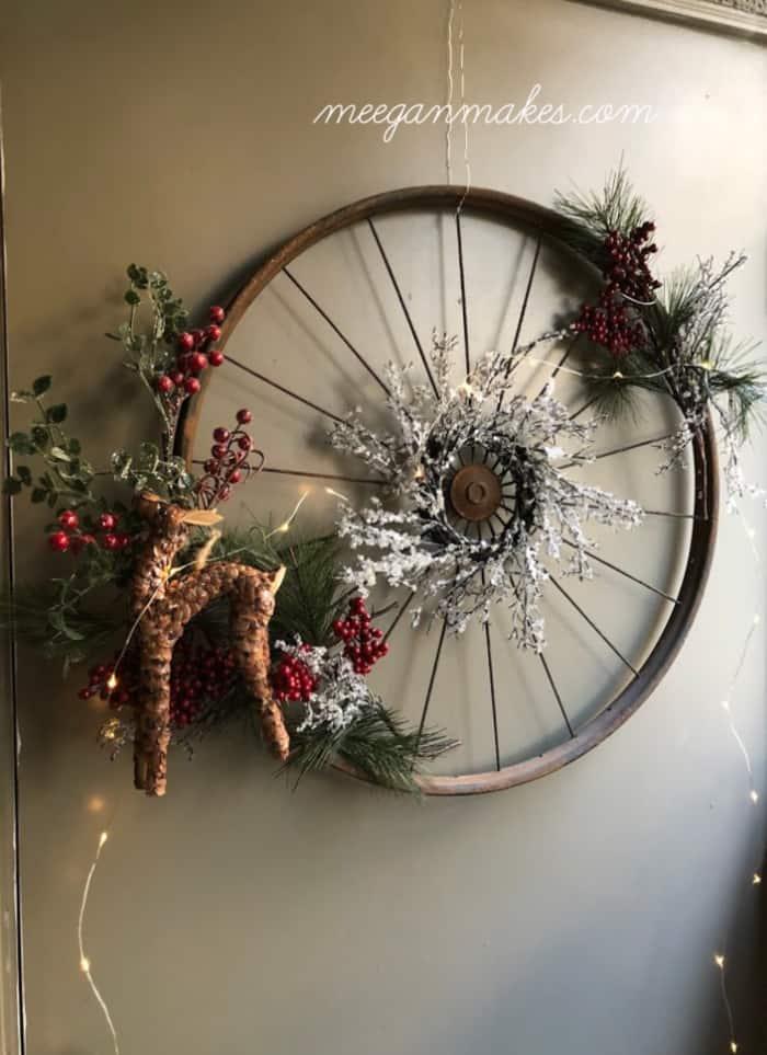 Vintage Bicycle Rim Christmas Wreath