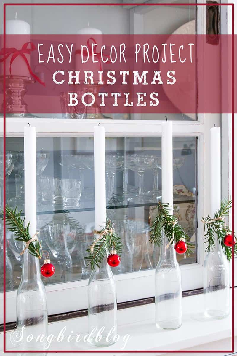 bottles with candles Christmas decor