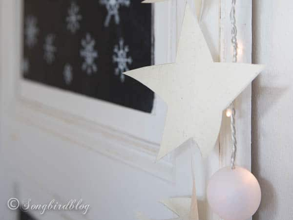Christmas chalkboard doodles and paper star garland