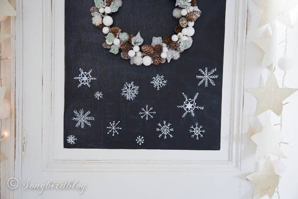 Christmas chalkboard doodles - snowflakes