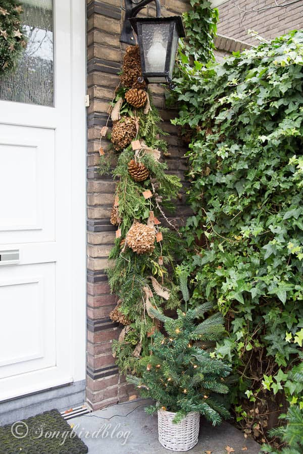 Christmas front door decorations: homemade natural swag and wreath