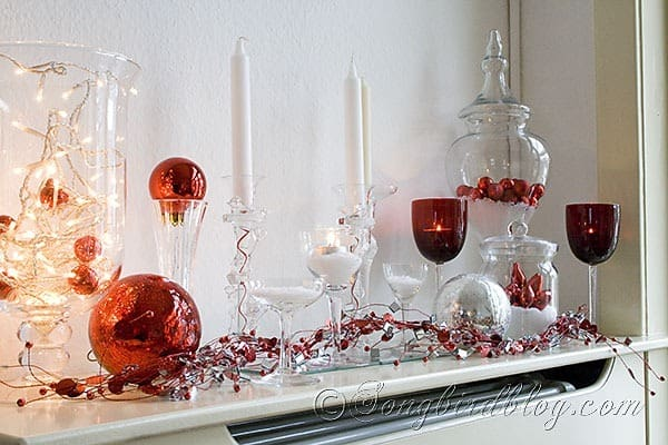Christmas mantel in red white