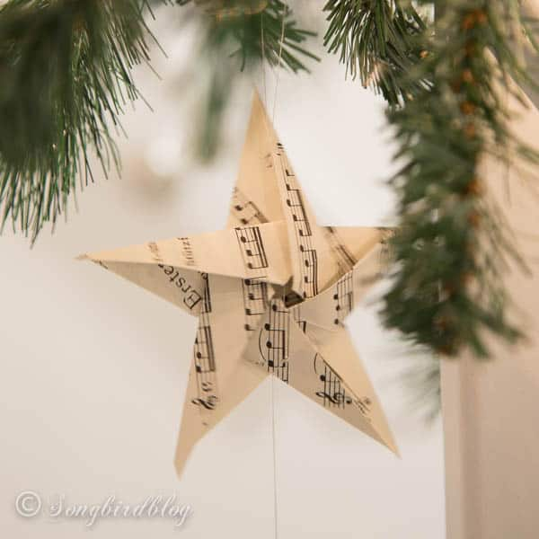 folded paper stars from sheet music