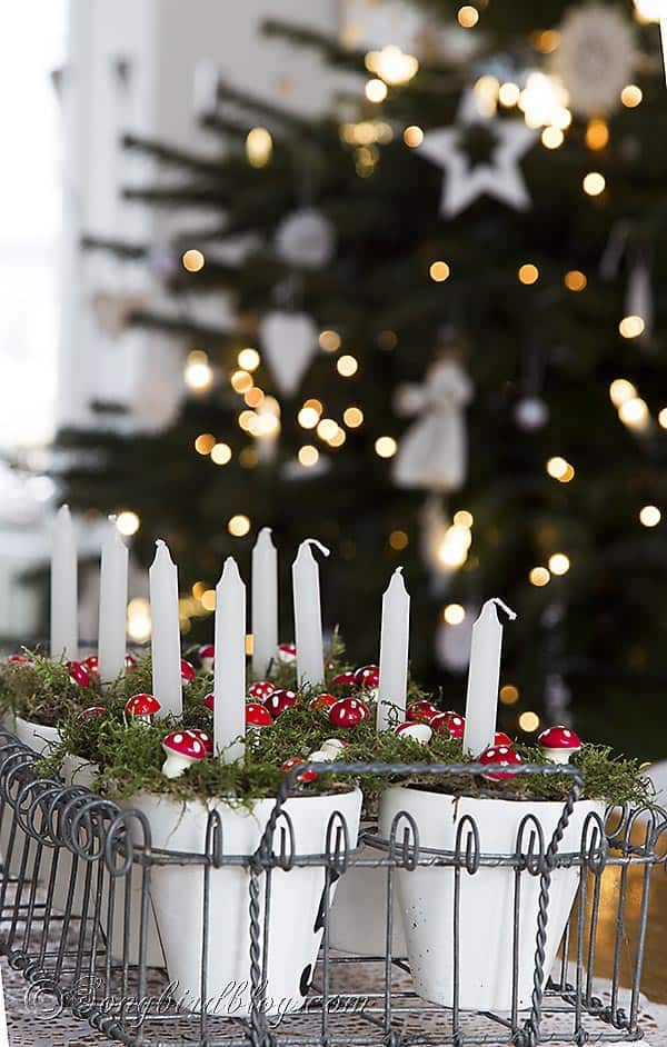 Christmas tree bokeh candles decoration