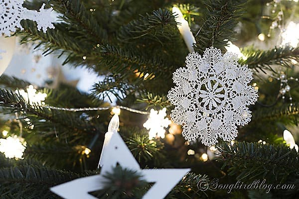 Christmas tree white ornaments handmade 6