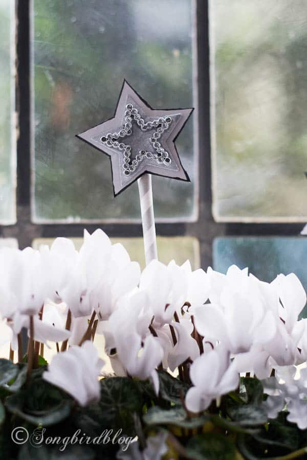 Paper stars part of window sill decorations for Christmas