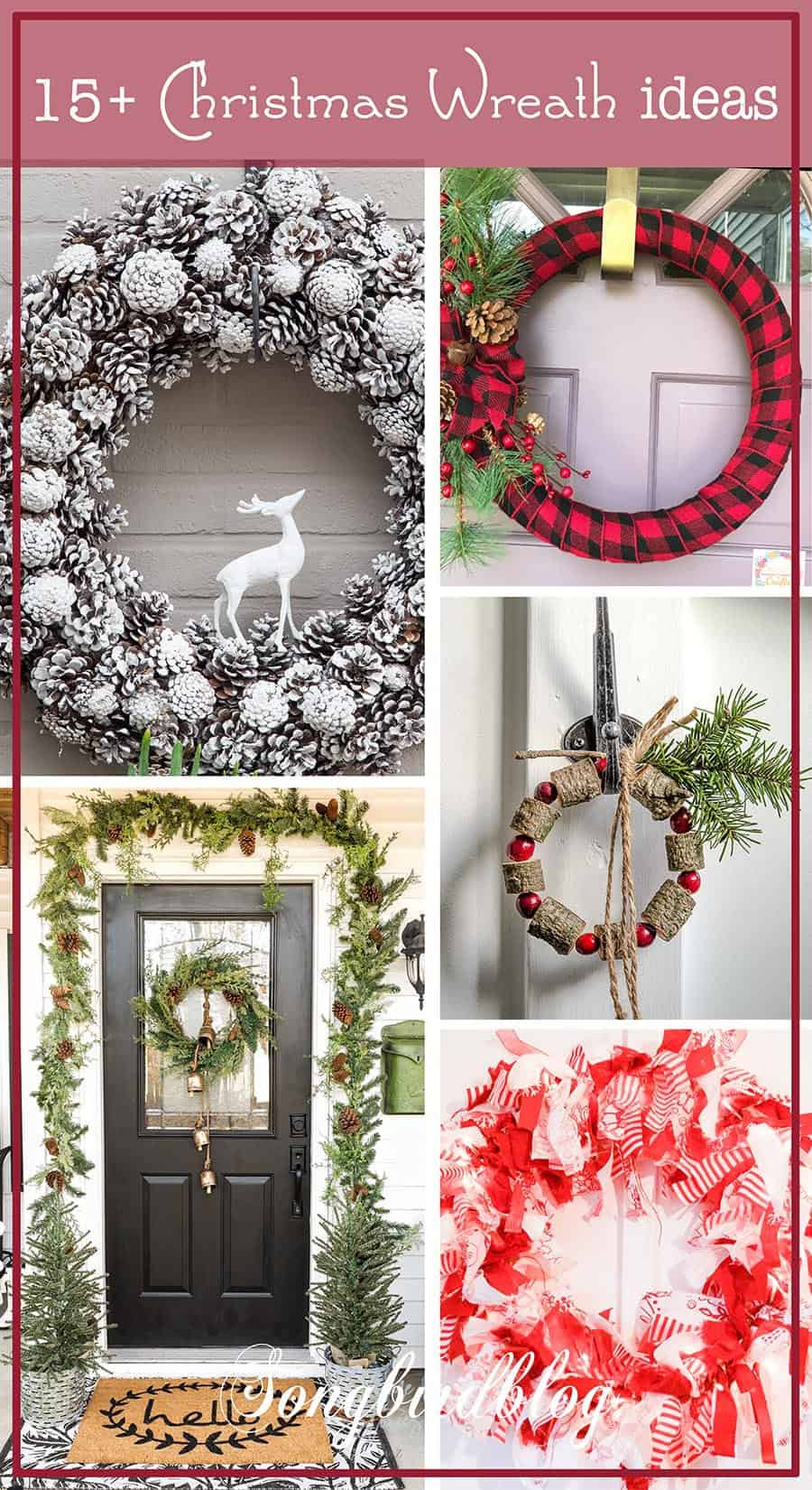 collage with Christmas wreaths