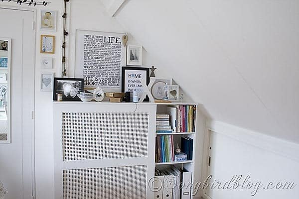 Craft Room Radiator Cover  with Bookshelf Songbirdblog