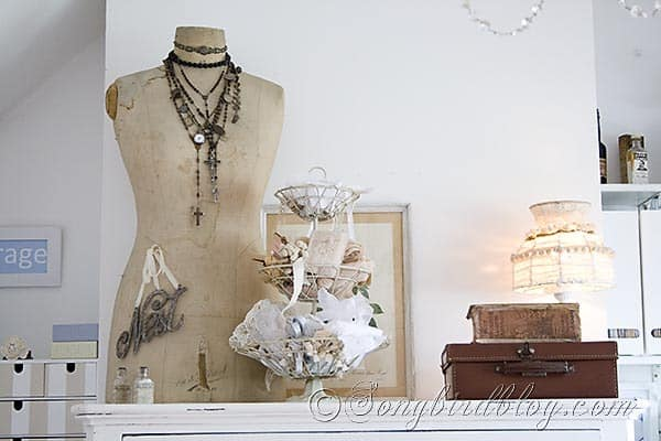 Craft Room Reveal mannequin and lace Songbirdblog
