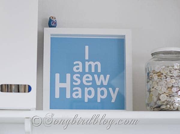 Craft Room Reveal sew happy sign Songbirdblog