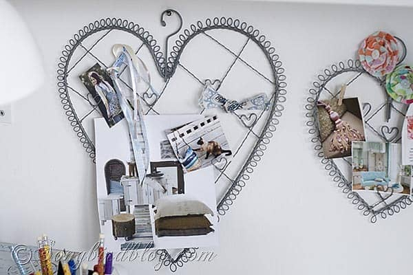 Craft Room heart shaped inspiration board Songbirdblog