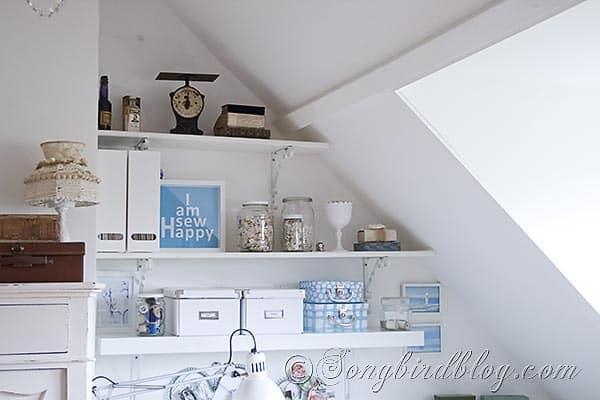 Craft Room sewing corner shelves and supplies Songbirdblog
