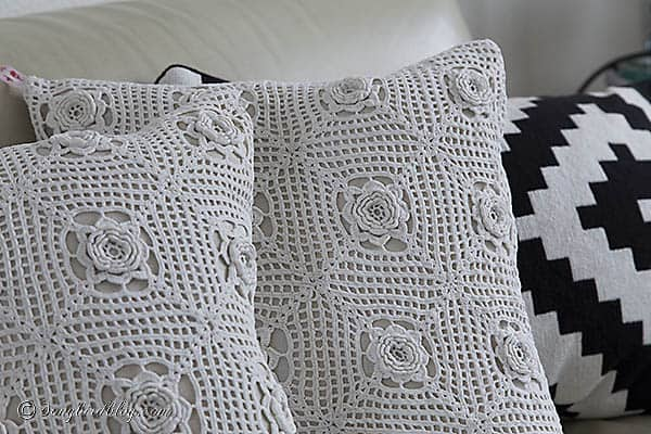 Junkers Unite with Vintage Crochet Pillows - Songbird