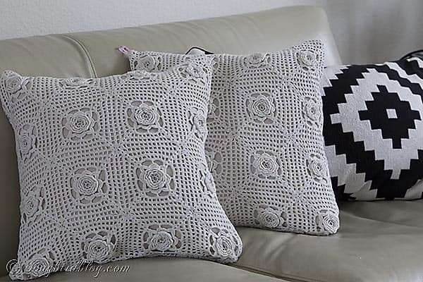 Handmade Crochet Pillows from a vintage granny blanket. Find them at www.etsy.com/shop/SongbirdsNest