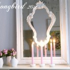 layered mirror mantel decoration with cupcake candle sticks