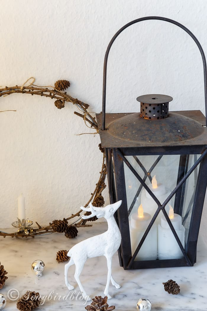 Christmas decorations with an old lantern