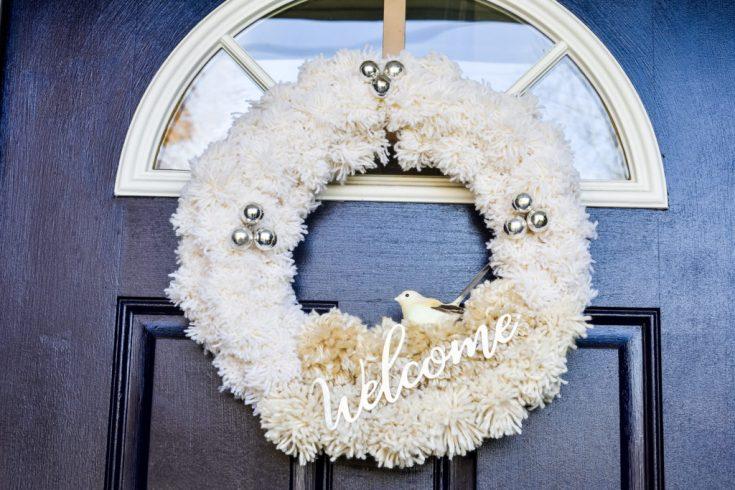 DIY Neutral Pom Pom Holiday Wreath - Zucchini Sisters