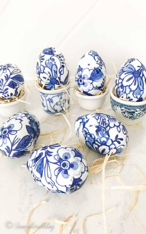 Tissue Paper Decoupage Delft Blue Easter Eggs