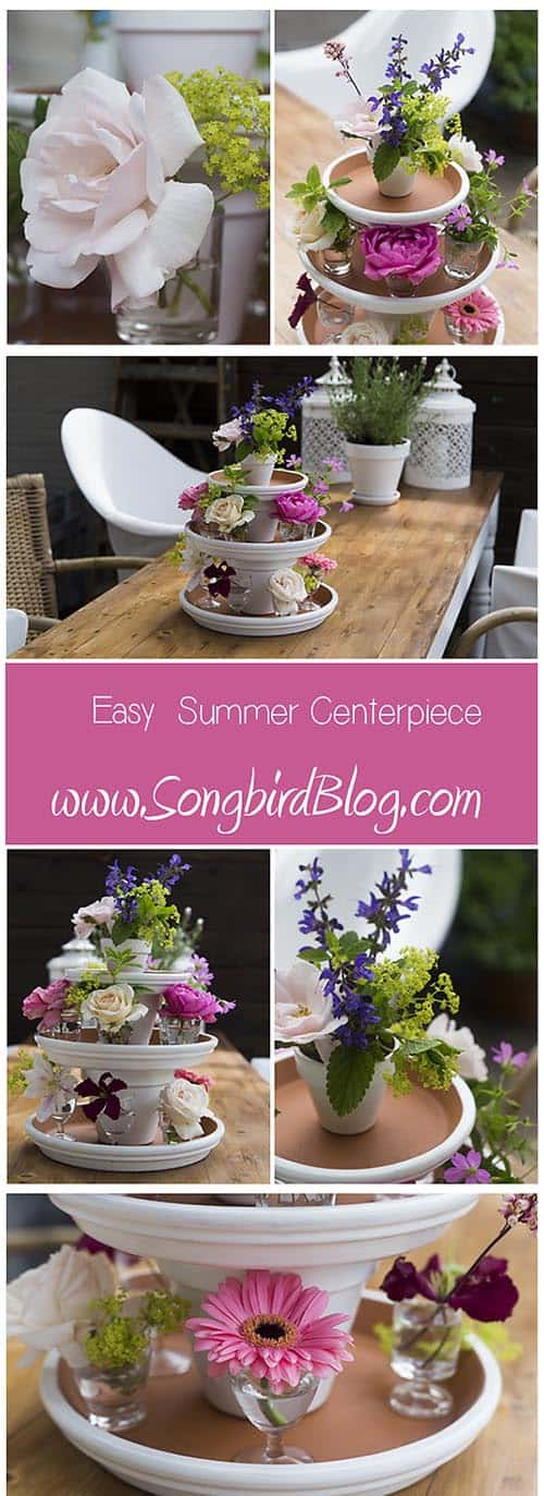 Floral Centerpiece Summer Decorating via http:www.Songbirdblog.com