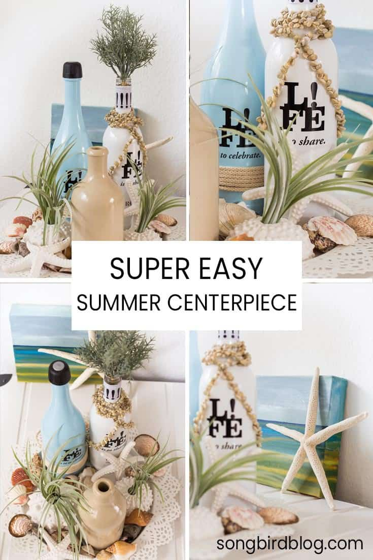 easy summer centerpiece idea for summer beach decor