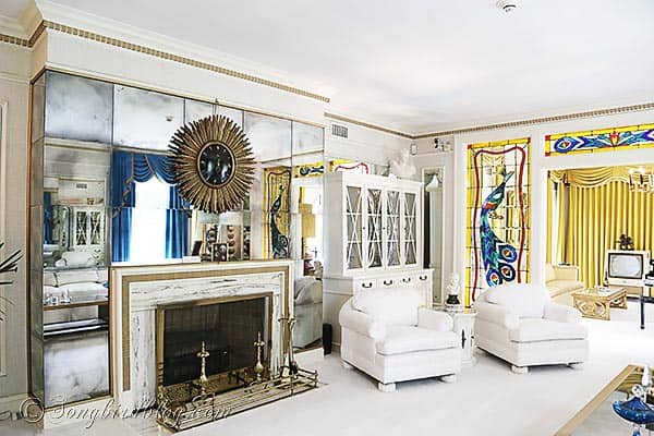 Elvis Presley Graceland living room fire place