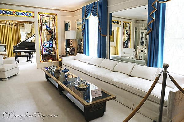 Elvis Presley Graceland living room white couch